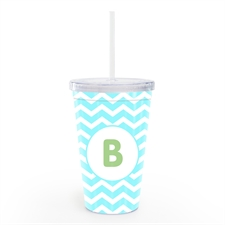 Ocean Chevron Personalized Double Wall Tumbler