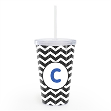 Black Chevron Personalized Double Wall Tumbler