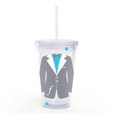 Grey Tuxedo Dress Personalized Wedding Acrylic Tumbler