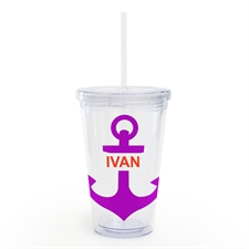 Plum Anchor Personalized Acrylic Double Wall Tumbler