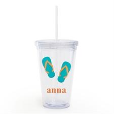 Aqua Flip Flops Personalized Acrylic Double Wall Tumbler