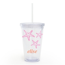 Custom Name Pink Starfish Acrylic Double Wall Tumbler