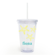 Custom Name Yellow Starfish Acrylic Double Wall Tumbler