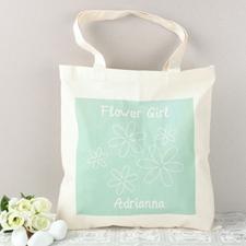 Aqua Flower Girl Personalized Cotton Tote Bag