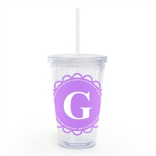 Lavender Lace Personalized Acrylic Double Wall Tumbler