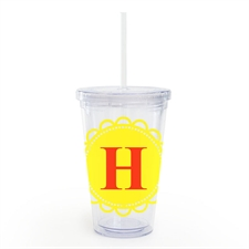 Yellow Lace Personalized Acrylic Double Wall Tumbler
