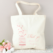 Pink Bird Flower Girl Personalized Cotton Tote Bag