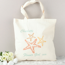 Beach Wedding Flower Girl Personalized Cotton Tote Bag