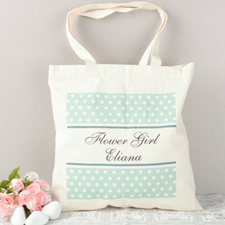 Teal Polka Dot Flower Girl Personalized Cotton Tote Bag