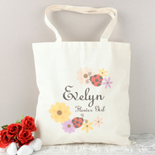 Ladybugs Flower Girl Personalized Cotton Tote Bag