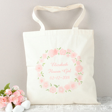 Cute Flower Girl Personalized Cotton Tote Bag