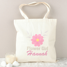 Pink Daisy Flower Girl Personalized Cotton Tote Bag