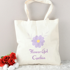 Purple Daisy Flower Girl Personalized Cotton Tote Bag