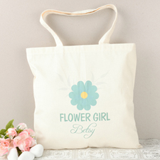 Blue Daisy Flower Girl Personalized Cotton Tote Bag