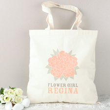 Rose Flower Girl Personalized Cotton Tote Bag