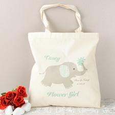 Aqua Elephant Flower Girl Personalized Cotton Tote Bag