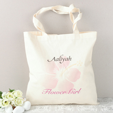 Pink Hibiscus Flower Girl Personalized Cotton Tote Bag