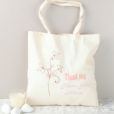 Modern Flower Girl Personalized Cotton Tote Bag