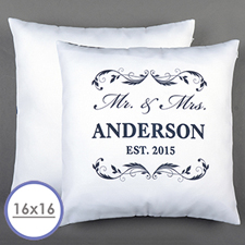 Mr. & Mrs. Personalized White Pillow  Cushion (No Insert)  16 Inch