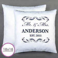 Mr. & Mrs. Personalized Pillow White 18X18 Cushion (No Insert)