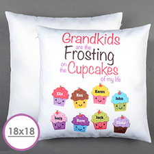 Eight Cupcakes Personalized Large Cushion 18