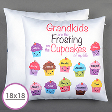 Twelve Cupcakes Personalized Large Cushion 18