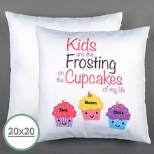 Three Cupcakes Personalized Large Pillow Cushion Cover 20