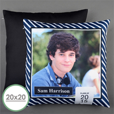 Navy Stripe Class Of 2017 Personalized Large Pillow Cushion Cover 20