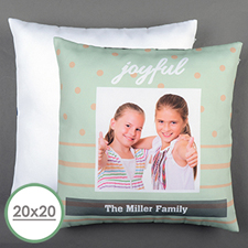 Aqua Dot Stripe Personalized Large Pillow Cushion Cover 20