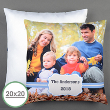 Blue Frame Personalized Large Pillow Cushion Cover 20