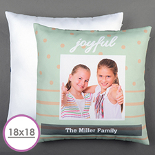 Aqua Dot Stripe Personalized Large Cushion 18