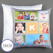 16 X 16 Grey Six Collage Personalized Pillow  Cushion (No Insert)