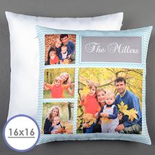 Aqua Chevron Collage Personalized Pillow Cushion Cover 16