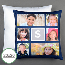 Navy Collage Personalized Large Pillow Cushion Cover 20