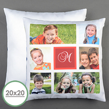 White Collage Personalized Large Pillow Cushion Cover 20