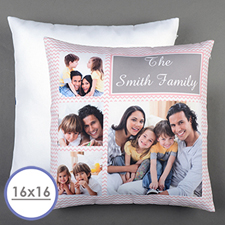Pink Chevron Collage Personalized Pillow Cushion Cover 16