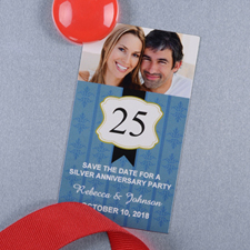 Blue Anniversary Plate Personalized Photo Magnet