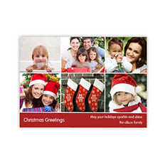 Personalized 6 Photo Very Merry  Red Invitation Holiday Cards