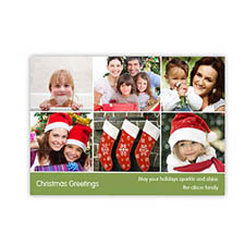 Personalized 6 Photo Very Merry  Green Invitation Holiday Cards