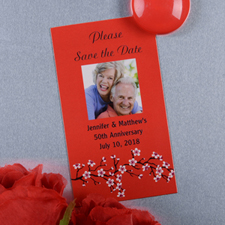 Create And Print Red Bloom Personalized Photo Magnet 2x3.5 Card Size