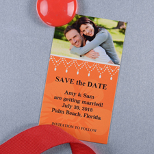 Create And Print Orange Luster Photo Save The Date Magnet 2x3.5 Card Size