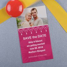 Create And Print Fuchsia Luster Photo Save The Date Magnet 2x3.5 Card Size
