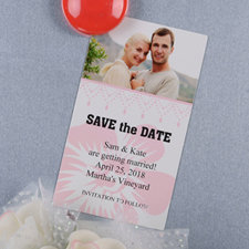 Create And Print Light Pink Luster Photo Save The Date Magnet 2x3.5 Card Size