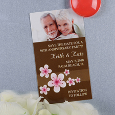Brown Flourish Personalized Photo Magnet 2x3.5