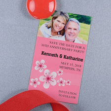 Create And Print Pink Flourish Personalized Photo Magnet 2x3.5 Card Size