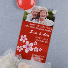 Create And Print Red Flourish Personalized Photo Magnet 2x3.5 Card Size