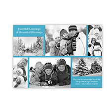Personalized 6 Photo Christmas Blessing  Blue Invitation Holiday Cards