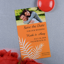Create And Print Orange Fern Personalized Photo Magnet 2x3.5 Card Size