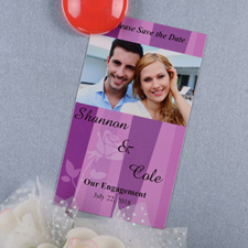 Create And Print Pink Stripe Personalized Save The Date Magnet 2x3.5 Card Size