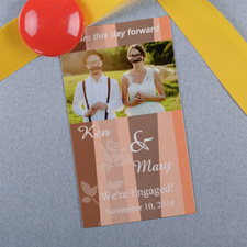 Create And Print Orange Stripe Personalized Save The Date Magnet 2x3.5 Card Size